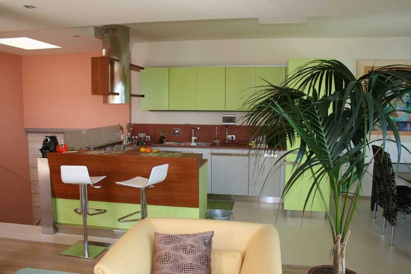 Cucina laccata verde 1